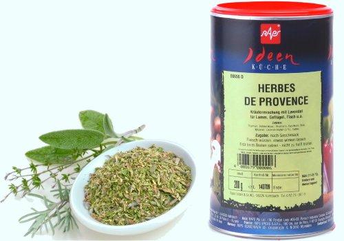 1a RAPS Gewürze HERBES DE PROVENCE --- 200g Dose --- Kräuter der PROVENCE: Struktur streufähig für Lamm, Geflügel, Fisch u.a. Erst beim Braten salzen, nicht zu heiß braten! * typisch französische Kräuternote * grün-oliv. Zugabe: nach Geschmack