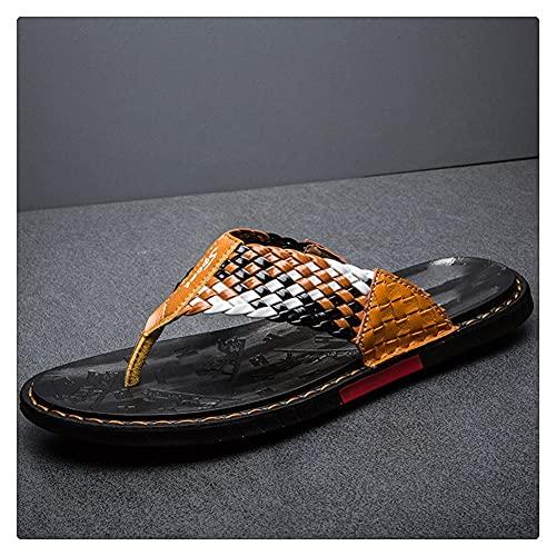 LSDTZ Zapatos Diapositivas Planas Sandalias Informales Suaves Para Hombre Zapatillas De Verano De Cuero Chanclas Tejidas Sandalias De Playa (Color : Orange, Size : 42yards)
