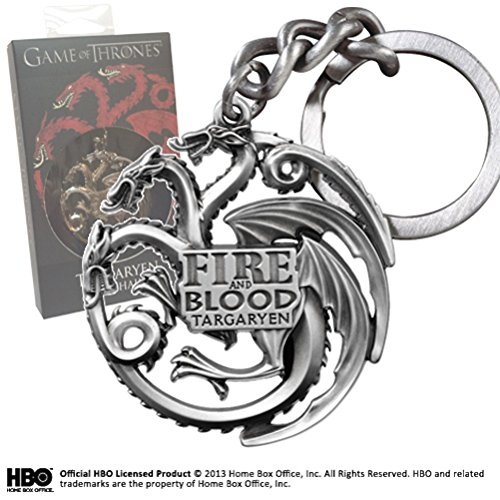 Noble Collection–Der Thron von Schwerter: Schlüsselanhänger Targaryen, grau metallisch