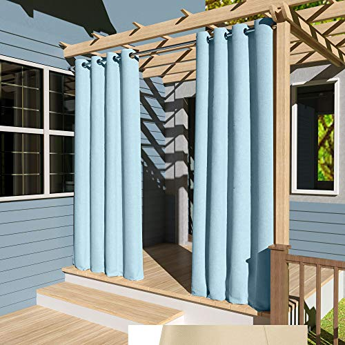 Clothink Outdoor Vorhänge Aussenvorhang B:132xH:275cm Winddicht Wasserabweisend Sichtschutz Sonnenschutz UVschutz Hellblau