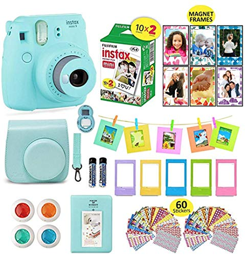 Fujifilm instax Mini 9 Instant Camera Flamingo Pink + 20 Instant Film Pack, Instax Case + Instax Accessories Bundle, Kit Includes, Albums, Selfie Lens, 4 Color Lenses, Magnets Frames, by Shutter