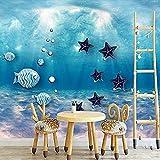 Papel tapiz 3D Mural personalizado Undersea World Ocean House Mural acuario tema estilo de dibujos a Pared Pintado Papel tapiz 3D Decoración dormitorio Fotomural sala sofá pared mural-250cm×170cm