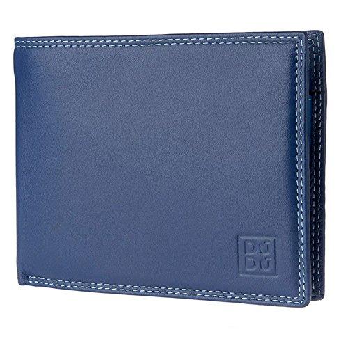 DUDU Portafoglio uomo RFID schermato Colorato in Vera Pelle formato Classico con Portamonete e Porta carte di credito Blu