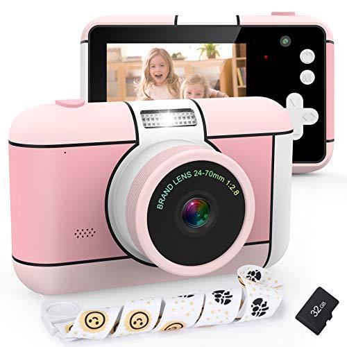 XDDIAS Cámara de Fotos para Niños, Infantil Cámara Digital con 32GB Tarjeta de Memoria y Pantalla de 2.4 Pulgadas, Videocámaras Juguetes para Niñas Cumpleaños Regalo (Rosado)
