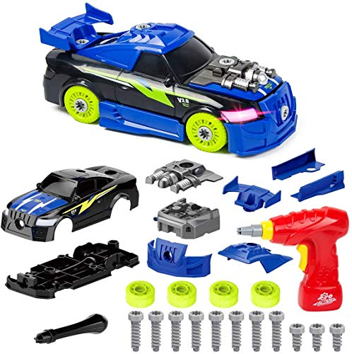 Gagotoy Take Apart Toys for 3-12 Year Old Boys Kids,Fun STEM Racing Toys Cars with Electric Screwdriver Tool Learning Game with Lights and Sounds Birthday Xmas Gifts for 6-10 Year Old Girls 26 Pieces
