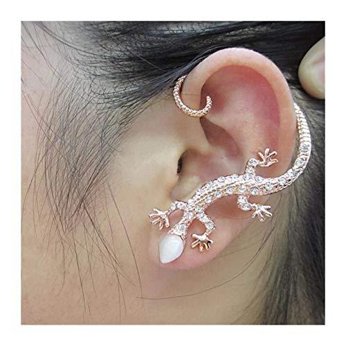 Exaggerated Lizard Stud Earrings For Women Gecko Earrings Rhinestone Earings Fashion (Metal Color : Gold color)