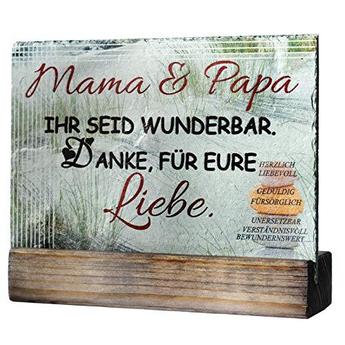 Feiner-Tropfen Schiefertafel 20x15 cm groß Spruch für Mama & Papa Beste Kinder Geschenke an die Eltern Düne Bedruckt VF