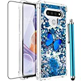 CAIYUNL for LG Stylo 6 Case,LG Stylo 6 Phone Case,Glitter Bling Floating Liquid Sparkle Quicksand Cute Clear TPU Silicone Women Girls Case Shockproof Protective Cover for LG Stylo 6-Blue Butterfly