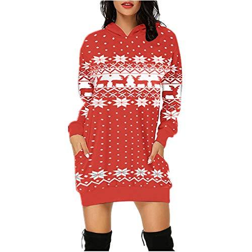 Xmiral Hoodie Kleid für Damen Weihnachten Gedruckte Langpullover Langarm Winterpullover mit Taschen(g-Rot,3XL)