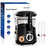 Water Flosser for Teeth-Water Pick Dental Oral Irrigator for Teeth Cleaner Professional Electric Flosser with 10 Adjustable Water Pressure 600ml Capacity and 4 Water Jet Tips Fairywill 169 in Black