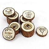 Jiamins Rustikale Ringschatulle, handgefertigt, aus Naturholz, leicht, für Hochzeitsringe, Schmuck