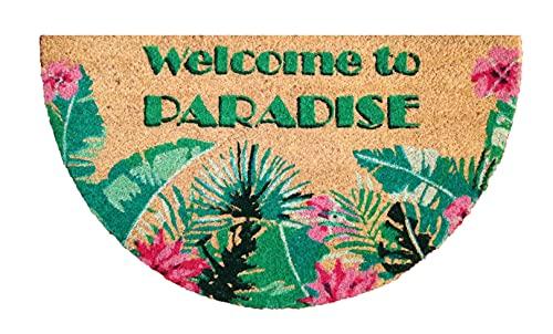 Felpudo de Coco Natural semicircular, felpudos Entrada casa, Alfombra Limpia Zapatos, Felpudo Exterior, Alfombra Entrada casa Interior, felpudos Originales y Divertidos, 40x70 (Paradise)