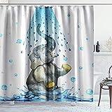NR Duschvorhang,Blauer Elefant,Hochwertige Qualität,180x180cm Wasserdicht mit Haken für Badezimmer