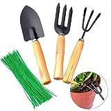 Liwein Mini Herramientas de Jardín, Kit Cuidado de Jardín el Set de Palas Rastrillos Tenedor Mango de Madera+100 Piezas Corbatas de Jardín Verde Alambre de Corbata para Planta Interiores y Exteriores