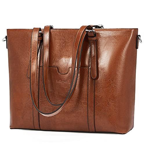 BROMEN Women Briefcase 15.6 inch Laptop Tote Bag Vintage Leather Handbags...