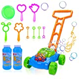 Toddler Bubble Machine Lawn Mower, Automatic Bubble Blower Machine with Music, Outdoor Push Toys for Baby Boys Girls Kids Summer Outside Toys 2 Bottles Solution and 8Pcs Bubble Wands Party Favor Gift