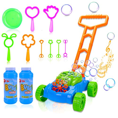 Toddler Bubble Machine Lawn Mower, Automatic Bubble Blower Machine with Music, Outdoor Push Toys for...