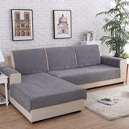 MSM Impermeable Funda para sofá Funda Cubre sofá, Anti-Que Patina Protector de Muebles Permanecer en su Lugar Mascotas Perros Niños, 1 Pieza-Gris 35x63inch