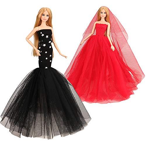 Barwa 2枚セット バービー人形用ドレス ジェニー用服 バービー用ドレス 1/6サイズ約30cmバービー人形に適用 (レッド+ブラック)