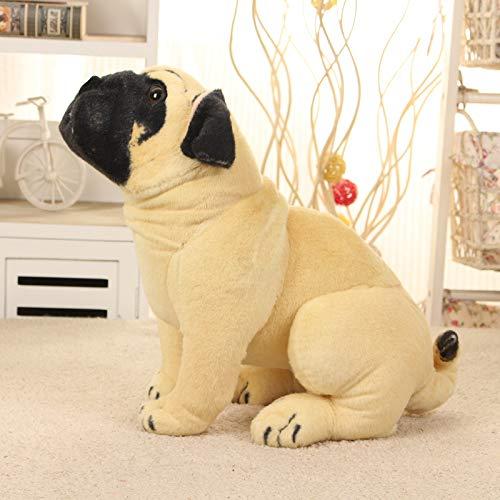 Doinbtoy Muñeco de Peluche Pug de simulación, muñeca de cumpleaños para niños Longitud50 cm Amarillo Claro
