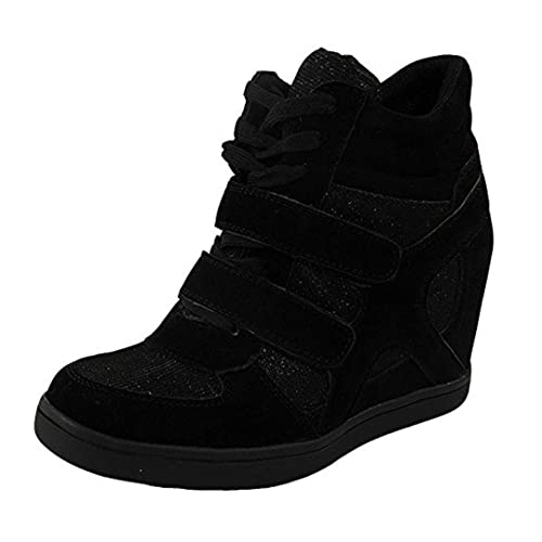 141700185b9 Loud Look Womens Ladies Lace Up Velcro Sneakers Trainers High Wedge Heel  Ankle Boots Size 3