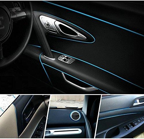 Pinalloy 5 Meter Chrom Auto Innen DIY Außendekoration Zierleiste Streifen Linie Aufkleber Einsatz Typ Luftauslass Armaturenbrett Dekoration 3D Streifen Blau