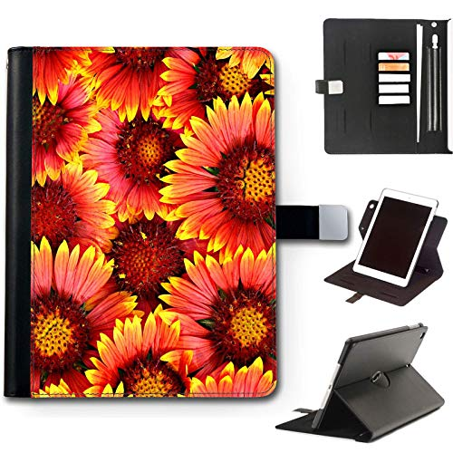 Orange Sunflower iPad Case For Apple iPad Pro 12.9 (2020) (4th Gen) 12.9 inch, 360 Swivel Leather Side Flip Wallet Folio Cover with Stand Feature, Card Slots, Paper Slot, Pen Holder