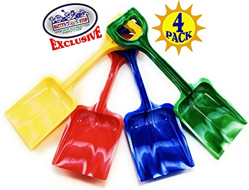 Matty's Toy Stop 10' Plastic Sand Shovels for Kids (Red, Blue, Green & Yellow Swirl) Complete Gift Set Party Bundle - 4 Pack