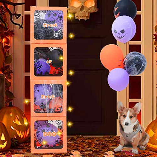 Halloween Party Decorations - Halloween Party Supplies Pack Including 4 Boxes with 28 Balloons, 20 Light Strip, 50 Maple Leaves, a Bag of Spider Web and 2 Spiders, Great Outdoor Halloween Decorations
