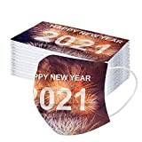 2021 - Bandana desechable de Navidad para adultos (3 capas, tela soplada, 50 unidades), varios colores