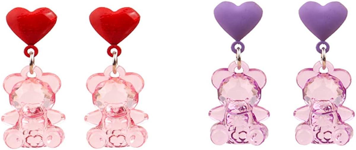 NIDEZHI 2pair Girl's Clip on Resin Bear Earrings Cartoon Funny Cute Drop Earring for Women