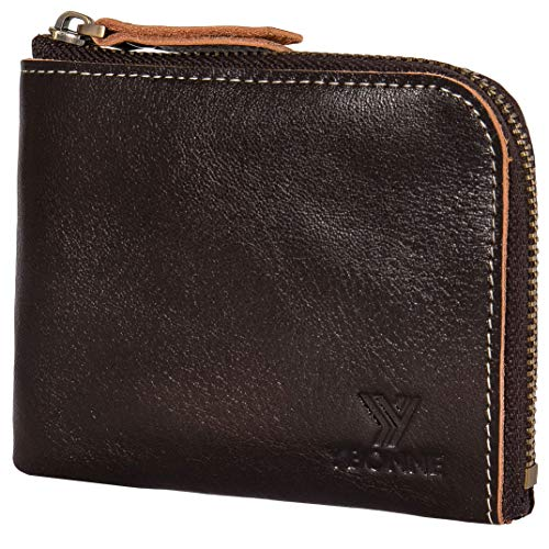 YBONNE Small Mini Corner Zip Wristlet Wallet for Men and Women, Handmade with Italian Vegetable Tanned Leather (Dark Brown)