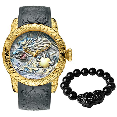 Relojes Hombre Relojes Grandes de Pulsera Deportivos Impermeable Oro Estilo Chino Reloj Hombres Analogicos de Silicona con una Pulsera de Pixiu y Cuentas de Mano
