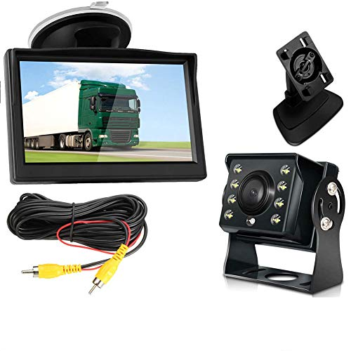 DBM-TOR Digital Wireless-Backup-Kamera-System Kit, Keine Störungen, IP68 wasserdicht Wireless Rückfahrkamera mit 5' 'LCD Wireless-Reverse-Monitor für LKW/Anhänger/Bus/Pickup/Van