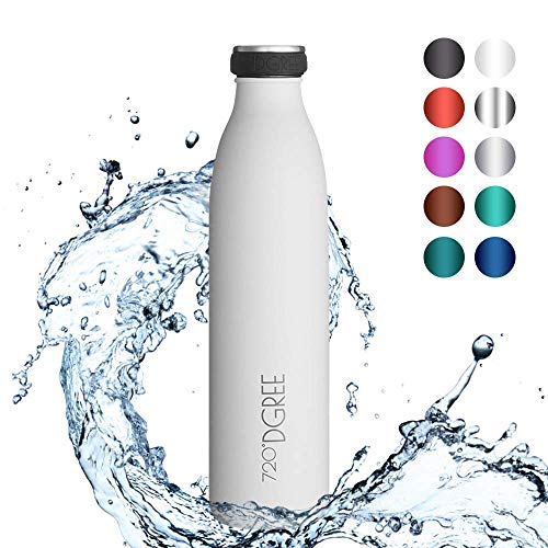 720°DGREE Gourde Acier Inoxydable milkybottle – 750ml, Blanc | Bouteille Isotherme d'eau | Revêtement Durable Parfaite pour Enfants, Sport, l'ecole | Isolée Qualité supérieure