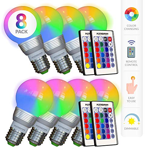 Our #1 Pick is the Kobra 8-Pack LED Color Changing Light Bulb with Remote Control
