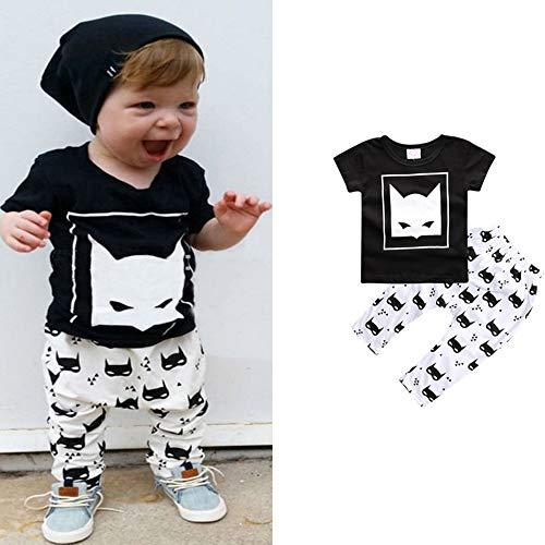 Goodplan Vêtements de bébé ensemble Fox Head Imprimer Pantalon à manches courtes Bébé Fille Garçon Vêtements Set Mode Animal Print Tops Pantalon