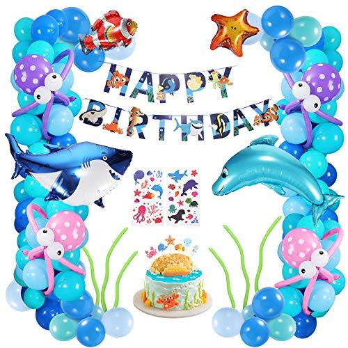 XDDIAS Festa Decorazione Palloncini, 102 Pezzi Palloncini Addobbi per Feste di Compleanno con Banner, Kit di Forniture per Feste marini Tema per Bambini Ragazzo