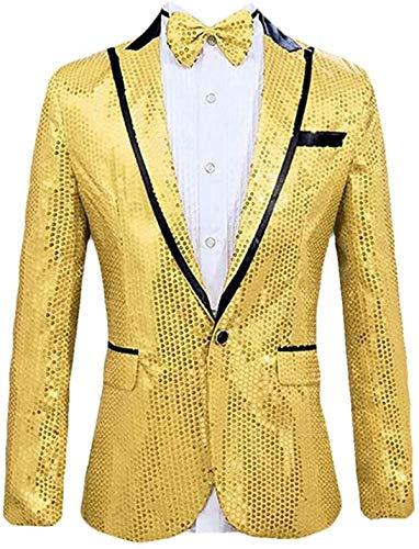 Tammy W Nash Chaqueta de traje de lentejuelas brillantes para hombre, con un botón, para fiesta, boda, baile, discoteca