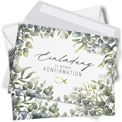 15 Einladungskarten Konfirmation mit Umschlägen Motiv Fisch Eukalyptus grün weiss Einladung Karten zur Feier Jungen Mädchen rosa blau