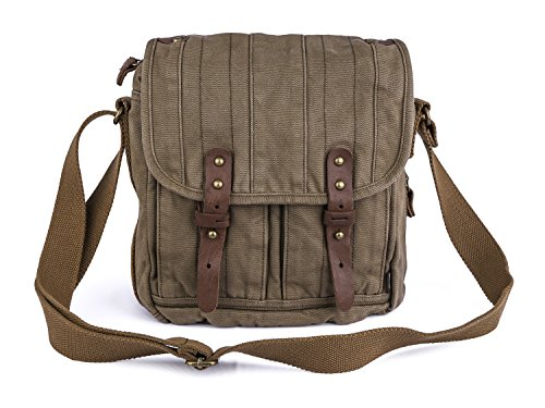 Gootium Canvas Shoulder Purse - Small Messenger Bag Vintage Satchel, Olive Brown