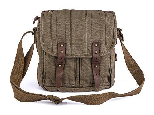 Gootium Vintage Canvas Classic Satchel Messenger/Shoulder Bag Men's, 25 cm, Army Green