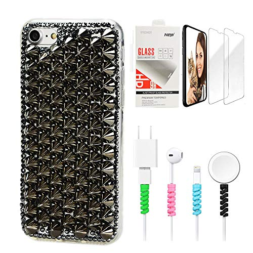 STENES Sparkle Case Compatible with iPhone 5/5S/SE - Stylish - 3D Handmade Bling Punk Rivet Design...