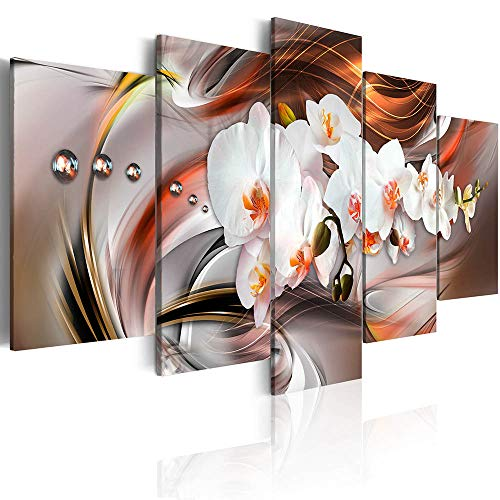 Canvas_Art_Design_2015 White Floral Canvas Print Wall Art Floral Orchid Painting Artwork Bedroom Living Room Office Decor 5 Panels (A,Over Size 60inch x 30inch)