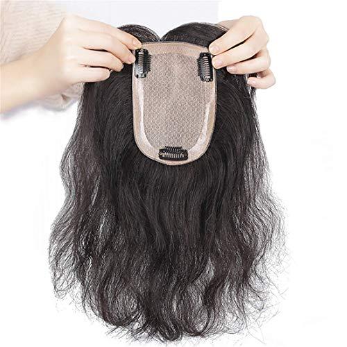DGHJK Perruques pour Femmes Top Naturel Ondulé avec Poney pour Femmes Bandeau en Soie Amincissant Cheveux 24 cm Noir Réaliste Perruque