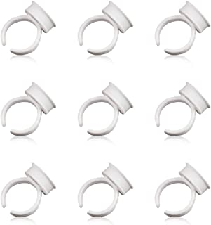 100PCS Large Size Disposable Plastic Nail Art Tattoo Glue Pallet Holder Eyelash Extension Rings Adhesive Pigment Holders Ink Cup Rings Makeup Application Tools