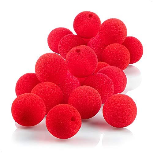 com-four® 24 narices de payaso hechas de espuma - narices falsas en rojo para disfraces, Ø 5cm, para carnaval, fiesta de disfraces u otras fiestas temáticas (24 piezas)
