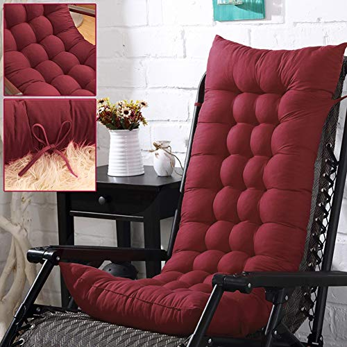 Fordecore Patio Chaise Lounger Cushion, 49.2Inch Thickened Chaise Longue Cushion Recliner Cushions Rocking Chair Cushion Sofa Cushion Tatami Mat Window Mat Seat Cushion (Wine Red)