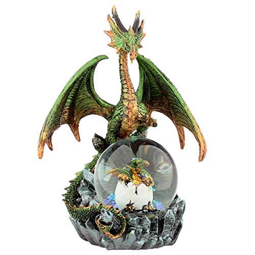 Puckator Crystal Orb Dark Legends Schneekugel mit Drachenmotiv, 1 Stück, Kunstharz, Multi, Height 18cm Width 14-15cm Depth 11cm