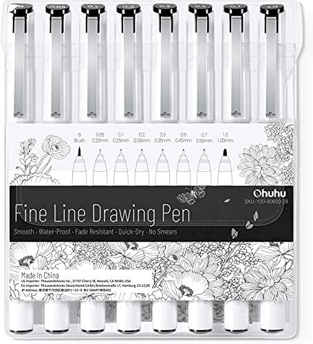 Ohuhu 製図ペン ミリペン 8本セット ラインドローイングペン 線幅0.05~1.0㎜ ブラシタイプ ファインライナー 水性ペン サインペン 漫画用ペン スケッチペン イラストペン 防水 黒